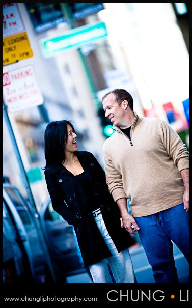 san francisco downtown engagement portrait