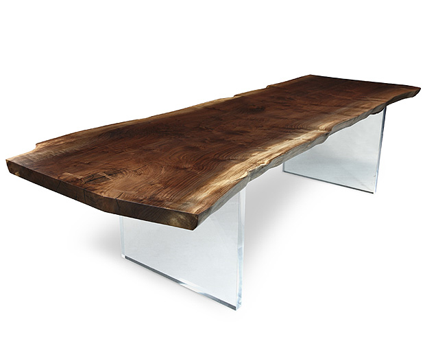 Solid Slab Wood Dining Table With Plexi Base Hudson Furniture Inc