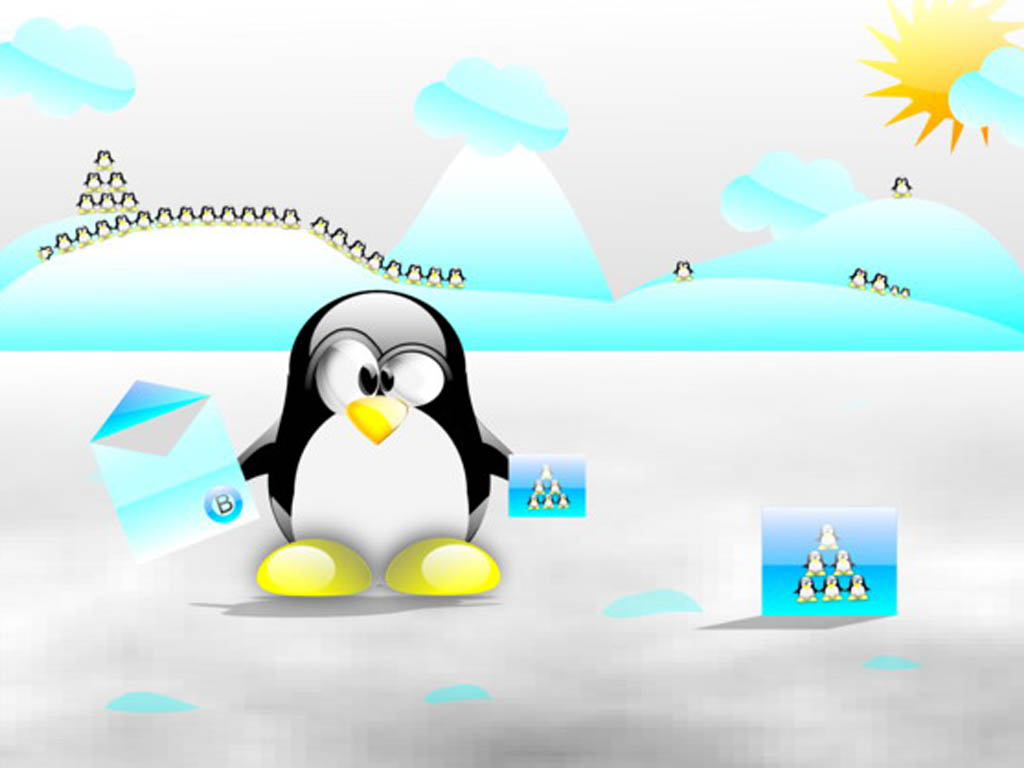 Cute Christmas Penguin Desktop