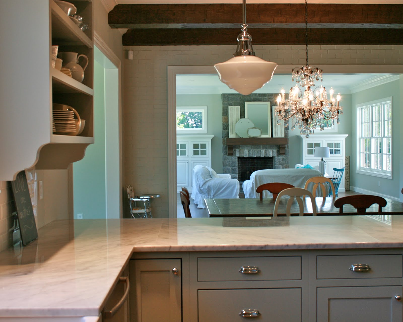 gray cabinets? marble countertops ? i loved it !!!! so back to the