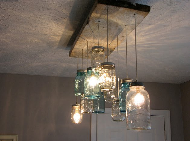 Homemade chandelier from mason jars