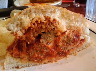 Side Shot of the Meatball Sandwich