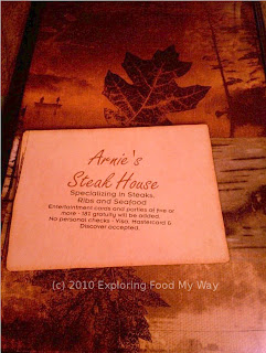 Arnie's Steak House Menu Page 1