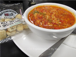 Bowl of Stuffed Pepper Soup and Crackers