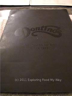Dontino's Dinner Menu Page 1