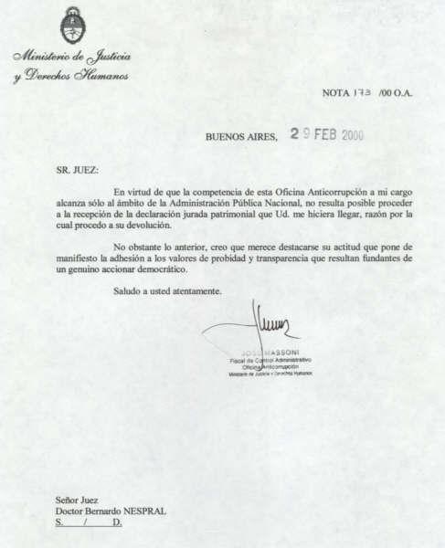 Carta de la Oficina Anticorrupción