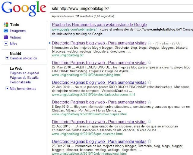 Calcular las paginas indexadas por google