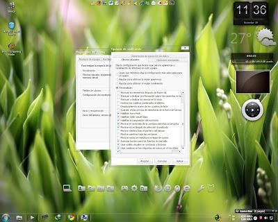 optimizar windows7: Modificar efectos visuales innesesarios