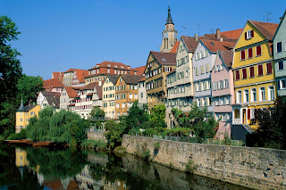 Neckar River and Town View, Tubingen, Baden-Wurttemberg, Germany