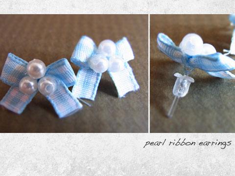 pearl ribbon earrings-stud