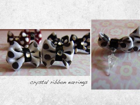 crystal ribbon earrings-stud
