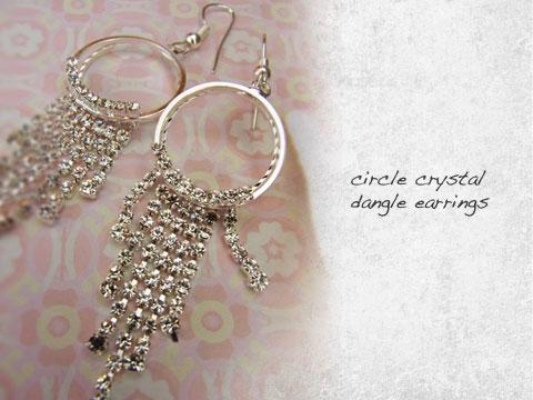 circle crystal earrings-dangle