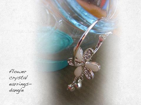 flower crystal earrings-dangle
