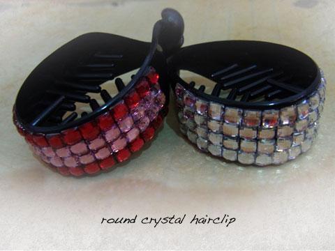 round crystal hairclip