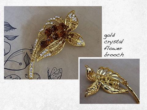 gold crystal flower brooch