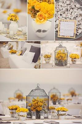 свадьба в серо-желтой гамме оформление свадебного стола