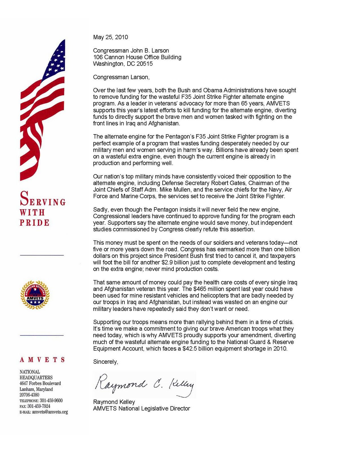 amvets national legislative director ray kelley has sent letters of support for the amendment to legislators playing a key role in the process