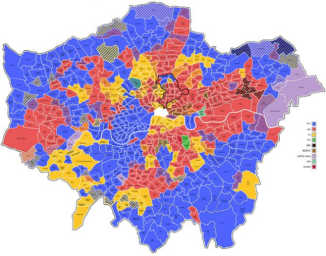 Hackney's muti-coloured political map