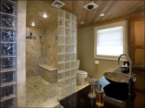 Merveilleux Curved Glass Block Shower Wall.