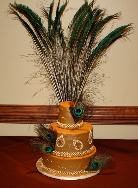 This cake was for a peacock themed wedding I actually did not back or frost