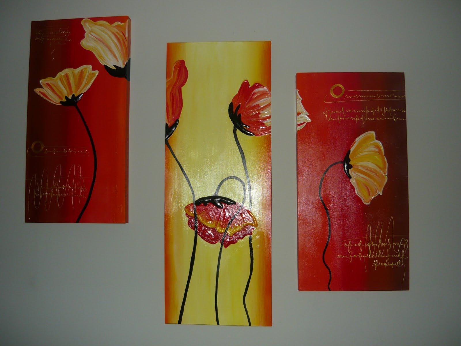 cuadros laterales miden 30 x 70 cm y el cuadro del centro 80 x 30 cm