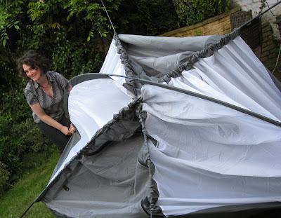 Lola erecting tent