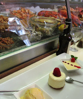 Lemon desserts with fish counter in the background