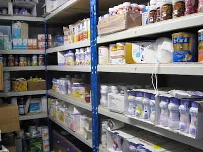 Bottles of nutritional supplements on shelves