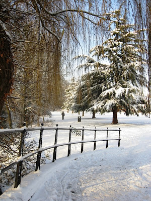 Snowy scene on the river path