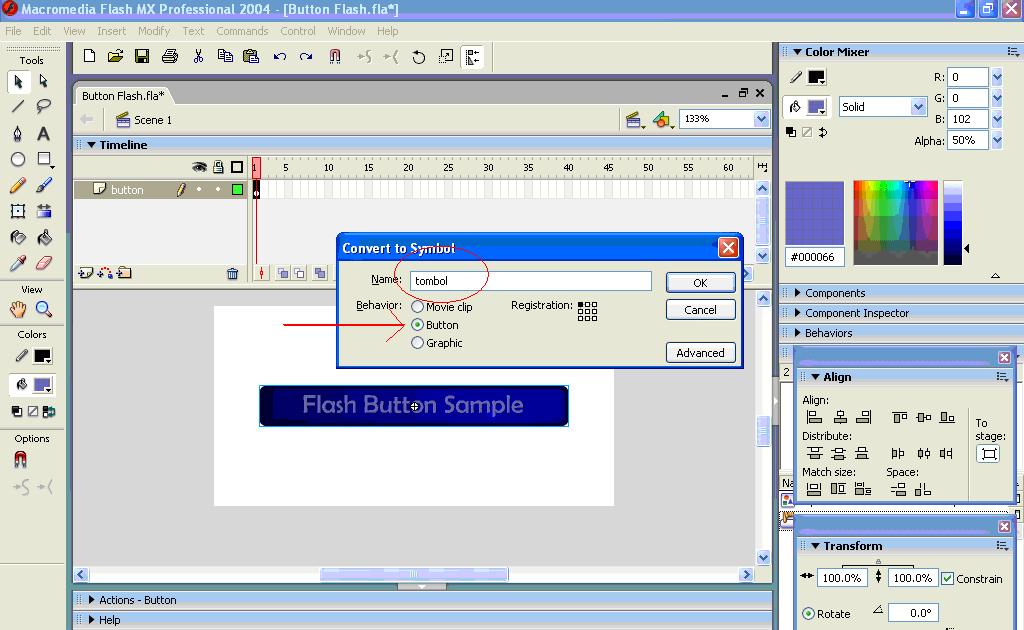 Membuat Tombol dalam Macromedia Flash Mx - all about basic