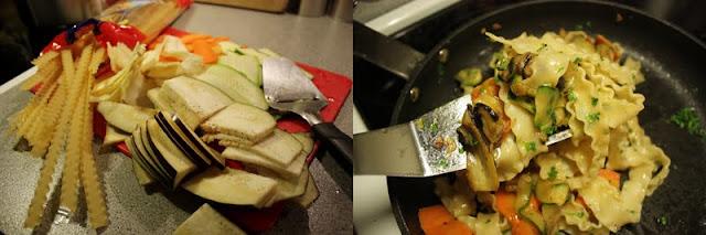 Oppskrift Ostehøvel Pasta Vegetar Vegan Mafaldine Pastinakk Gulrot Squash
