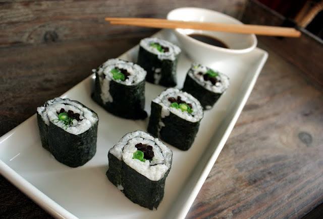 Oppskrift Vegan Vegetar Vegansk Sushi Maki Aspargesbønner Hijiki Grønne Bønner