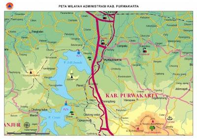 Gambar Peta Kabupaten Purwakarta Indonesia