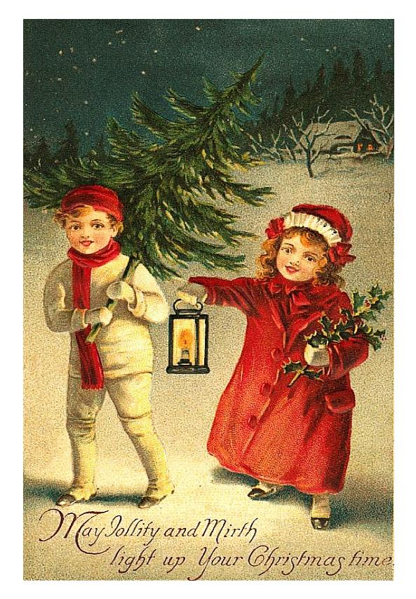 vintage christmas children images. Beautiful Vintage Christmas Postcard Children!