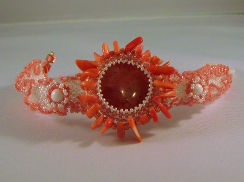 Coral Sunflower bracelet