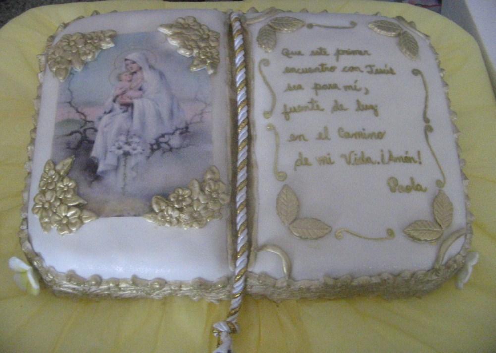 tortas de comunion en forma de libro