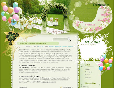 Technicolour Wedding blog theme