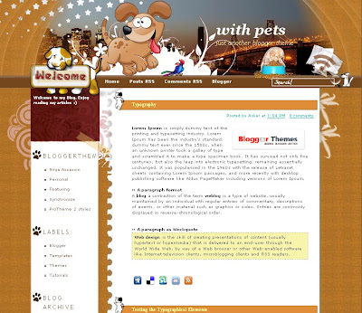 With Pets Blogger Template