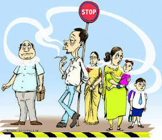 Cartoon of smoking banned in India at public places