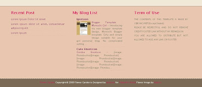 Footer of Flower Garden Blogger Theme