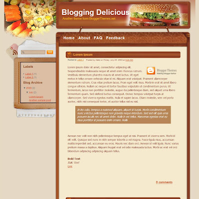 Blogging Delicious Blogger Theme