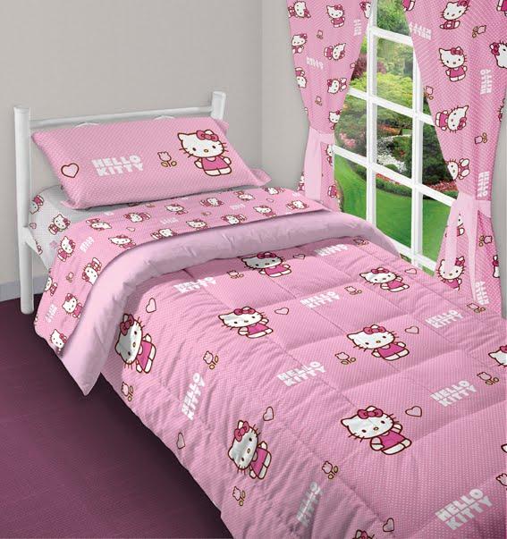 Cortinas De Baño Hello Kitty: Cartier: 0239 – Hello Kitty Jgo Sábanas, Acolchado 1 pl y Cortinas