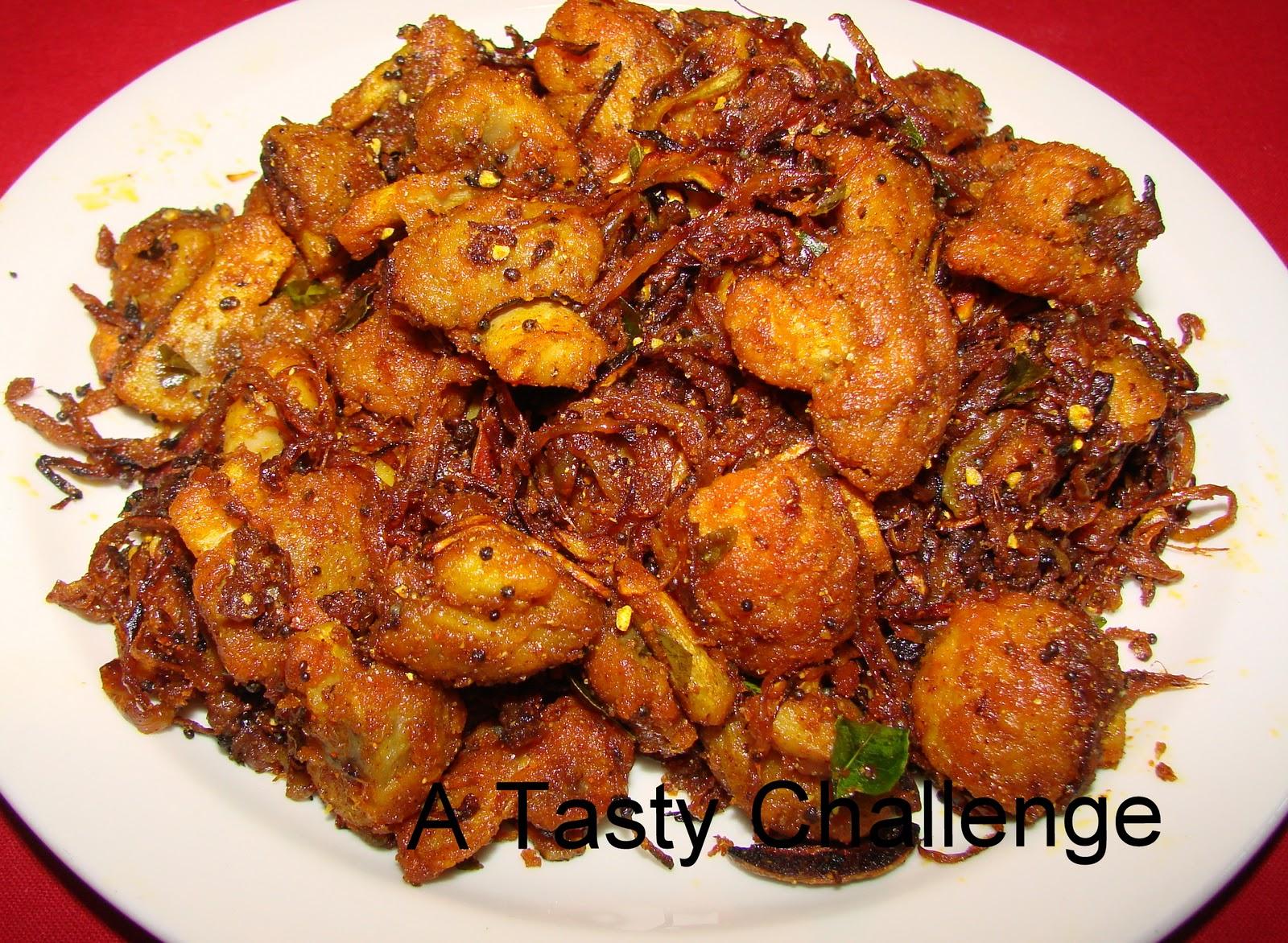 Tasty Challenge.....: Mushroom and Onion Pepper Fry