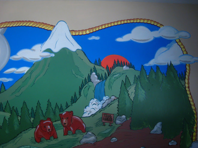 Close-up of adventure mural...