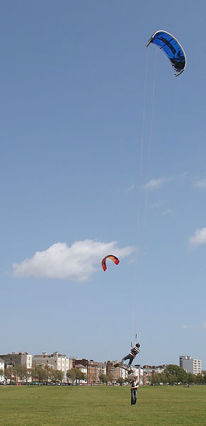 Also known as Kiteboarding or Land kiteboarding or flyboarding,
