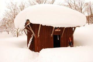 出雲峠の非難小屋の屋根には雪がいっぱい積もっていました。