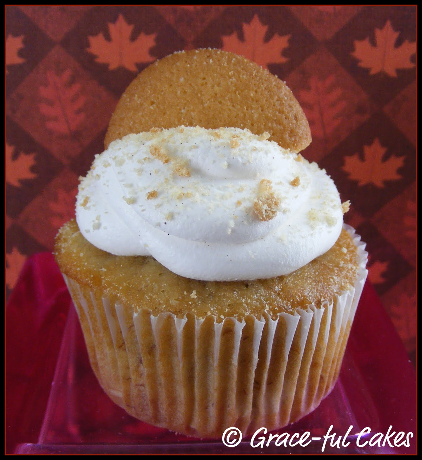 apple spice cupcake, with caramel filling, topped with whipped cream ...