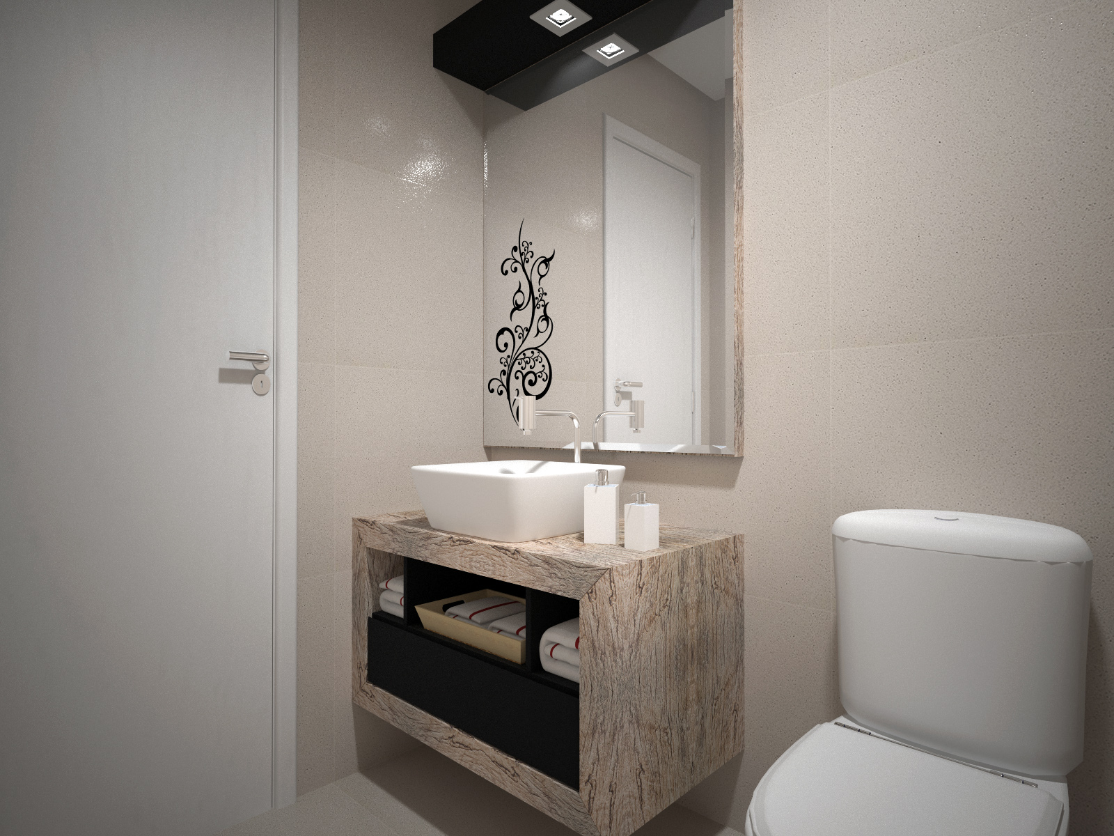 Banheiro Vintage e Laka preta #675B50 1600 1200