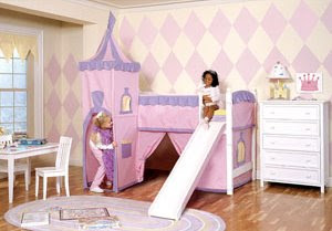 Girls Princess Castle Loft Bed