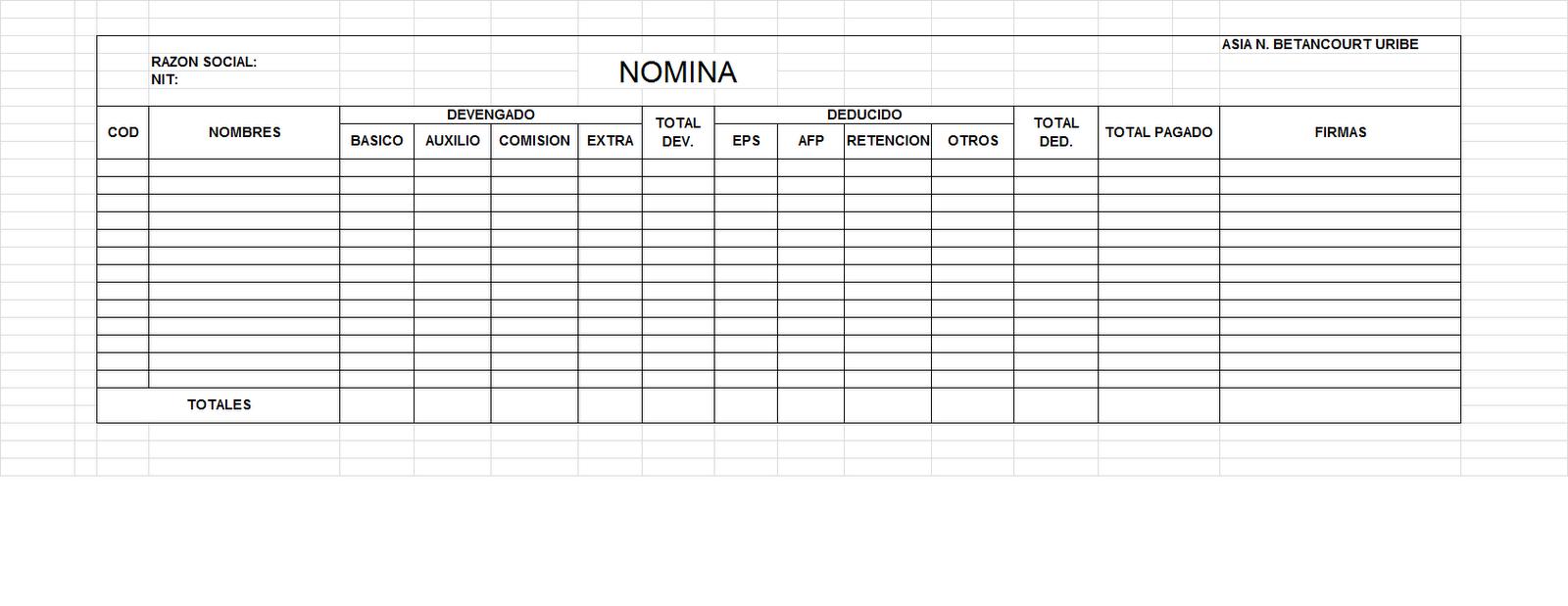 Formatos De Nomina